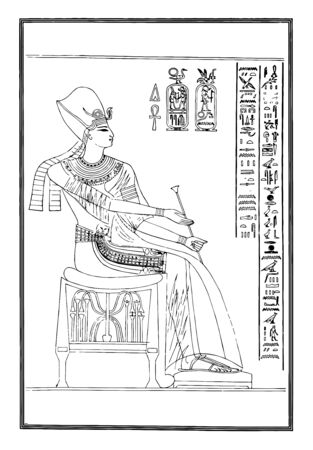 On the right side are hieroglyphics while on the left is an Egyptian with a headdress, vintage line drawing or engraving illustration.
