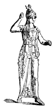 A bronze statue of a woman from Athens, vintage line drawing or engraving illustration.