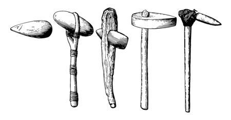This image shows the different types of 5 stone implements. These were implemented in the first days, vintage line drawing or engraving illustration. 일러스트