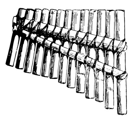 Pan Pipes is a primative musical instrument consisting of a graduated series of tubes of cane, vintage line drawing or engraving illustration. Illusztráció