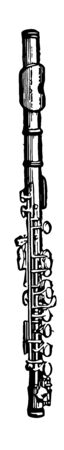 Piccolo is smaller than the flute but sounds one octave higher, vintage line drawing or engraving illustration.