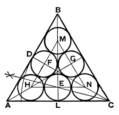 The figure that shows, each of the three circles is tangent to the other three and each side of the equilateral triangle is tangent to three of the circles, vintage line drawing or engraving illustration. 向量圖像