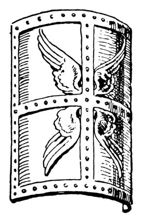 Roman scutum was a type of shield used among Italic peoples in the archaic period, vintage line drawing or engraving illustration.