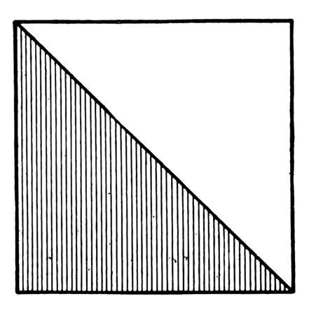 Una diagonal de un rectángulo corta el rectángulo en dos triángulos rectángulos. La diagonal es la hipotenusa del triángulo, línea vintage de dibujo o ilustración de grabado. Ilustración de vector