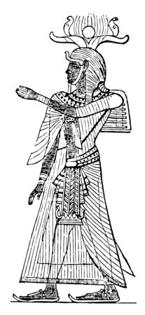An illustration of an Egyptian King with a headdress, vintage line drawing or engraving illustration. 向量圖像