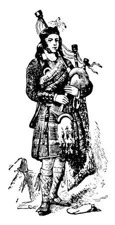 This image represents Piper of the Clan Gregarach, vintage line drawing or engraving illustration. Illustration