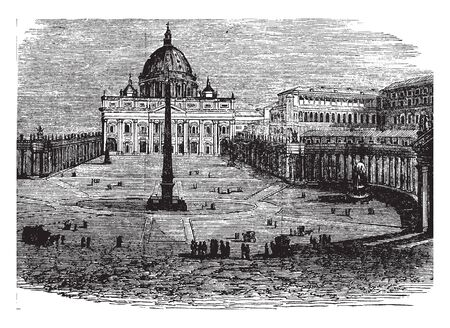 St Peter and the Vatican is an Italian Renaissance church in Vatican City, vintage line drawing or engraving illustration. Stock Illustratie