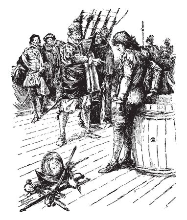 The Stowaway where a captain yelling at a stowaway found on his ship, vintage line drawing or engraving illustration.