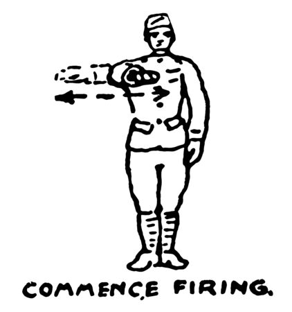 Commence Firing used to order troops to begin firing their weapons, vintage line drawing or engraving illustration. Ilustração