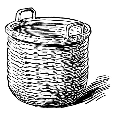 This is a Bushel in picture. It is used to measure equal to 8 gallons. It used for corn, fruit, liquids etc, vintage line drawing or engraving illustration.