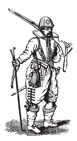 This image represents Musketeer from the Time of James I, vintage line drawing or engraving illustration. Banque d'images - 132911888