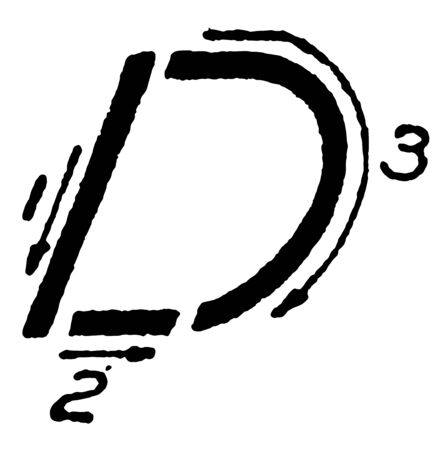 This illustration represents Inclined Capital Letter D, vintage line drawing or engraving illustration.