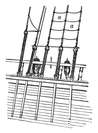 Ratlines which transverse the shrouds horizontally thus forming steps or ladders for going aloft, vintage line drawing or engraving illustration. Çizim