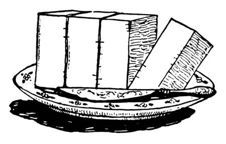 A picture showing a block, this block divided in four equal parts and fourths block is cut, vintage line drawing or engraving illustration. Ilustrace