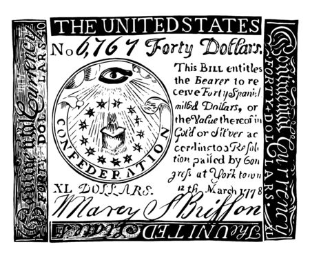 This is a fake bill of 1851 years. This bill is made of paper, vintage line drawing or engraving illustration.
