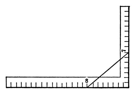 This is an image of rulers arranged perpendicularly with a diagonal line touching 8 on horizontal axis and 7 on vertical axis, vintage line drawing or engraving illustration. Çizim