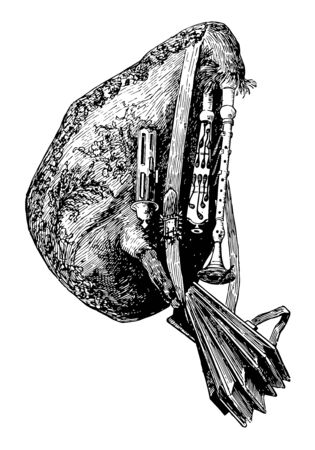 Musette is a small French bagpipe operated with a bellows and having a soft sound, vintage line drawing or engraving illustration.