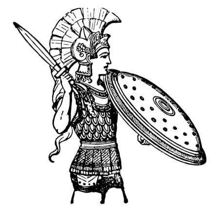 Greek Armor worn by the Greek soldiers as art armor, vintage line drawing or engraving illustration.