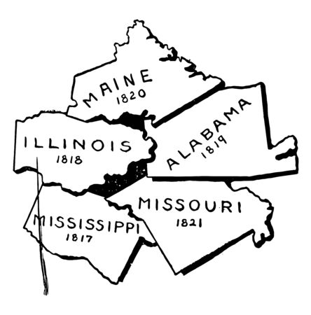 Various states admitted during 1817-1821 are Mississippi, Illinois, Alabama, Maine and Missouri vintage line drawing.