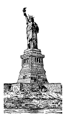 Statue of liberty isa gift from people France to the people of US vintage line drawing.