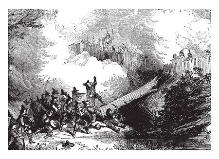 Fight between Native America and Settlers,intage line drawing or engraving illustration. Ilustração