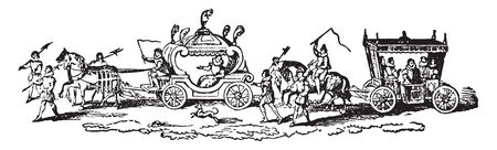 State Carriage of Queen Elizabeth from Hoefnagel pring of Nonsuch Palace, vintage line drawing or engraving illustration. Reklamní fotografie - 132941626