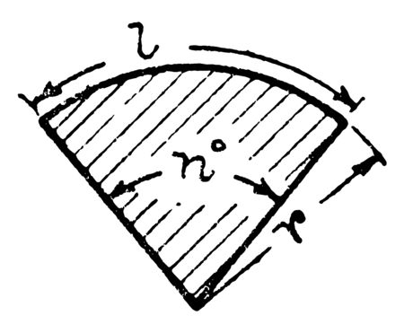 A diagram of a sector of a circle. A sector is the space between an arch and two radii drawn towards the ends of the arch, vintage line drawing or engraving illustration. 일러스트