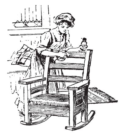 A woman polishing chair with oil, vintage line drawing or engraving illustration