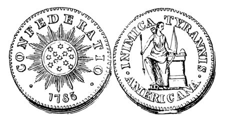 A picture is showing Copper Cent Coin, 1785. Obverse sides show 13 stars in middle of coin and inscribed with CONFEDERATIO, 1785. Reverse are show a man with holding bow and arrow in hand, vintage line drawing or engraving illustration.