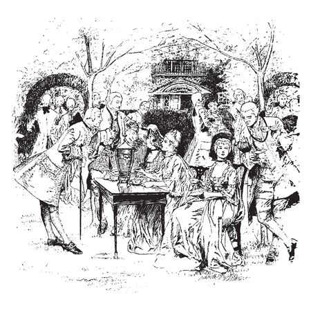 Tea party in Colonial New England,vintage line drawing or engraving illustration.
