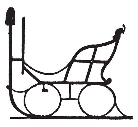 Curricle Sleigh was a smart light two wheeled chaise or chariot and large enough for the driver, vintage line drawing or engraving illustration.