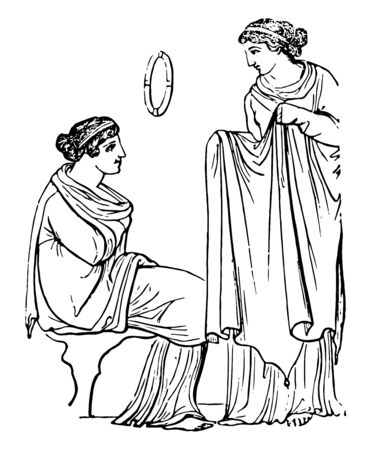 Two female Greeks wearing peplum, vintage line drawing or engraving illustration.