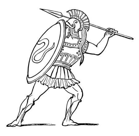 Ein Hoplit, der seinen Speer, eine Vintage-Linienzeichnung oder eine Gravierillustration zeichnet.