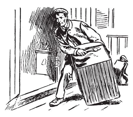 A man with luggage cart, vintage line drawing or engraving illustration