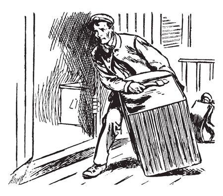 Un homme avec un chariot à bagages, un dessin de ligne vintage ou une illustration de gravure Vecteurs