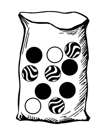 A bag contains ten marbles of the same size: two are identical white marbles; four are identical striped marbles and four black marbles, vintage line drawing or engraving illustration.