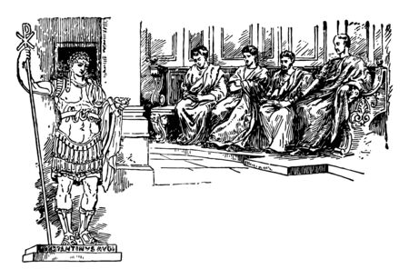 An emperor directing four officers sitting in front of him, vintage line drawing or engraving illustration.