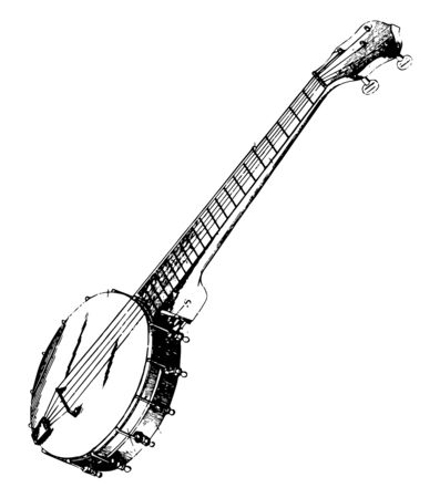 Rendered View of a Banjo has a rim with straining wires stretched across the head, vintage line drawing or engraving illustration.