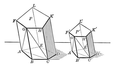 Two similar polyhedrons can be decomposed into the same number of similar tetrahedrons, each for each, and placed in a similar way, vintage line drawing or engraving illustration. Çizim