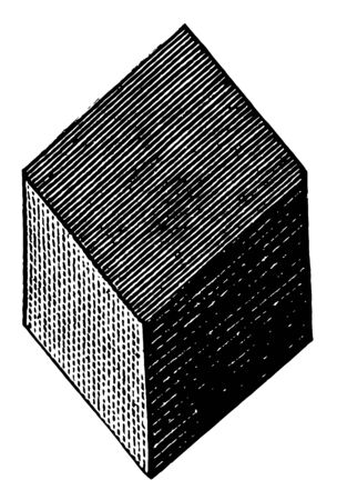 Its a solid object or a figure with six faces known as Rhombohedron. The image is showing 3 parts of this solid figure with 3 parts hidden at the back of it, vintage line drawing or engraving illustration.
