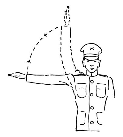 Squads Right March which is raise the arm laterally until horizontal, vintage line drawing or engraving illustration.