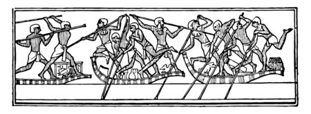 An image of Egyptian boatmen fighting, vintage line drawing or engraving illustration.