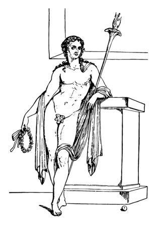 An image of Hymen leaning on a wall, vintage line drawing or engraving illustration.