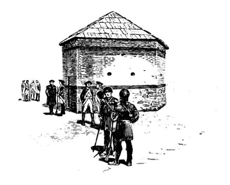 Fort Pitt was opened in 1761  by British colonists during the Seven Years' War at the confluence of the Monongahela and Allegheny rivers vintage line drawing.