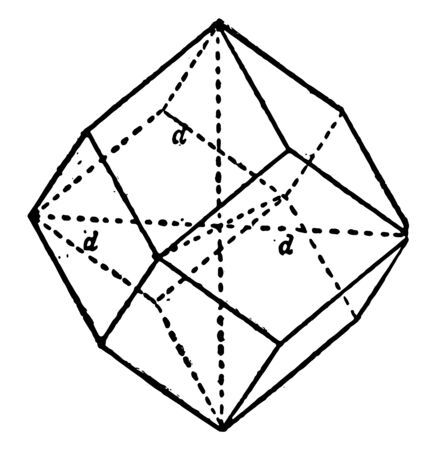 A vertical axis of rotation of 4 times generated the upper part of the regular Dodecahedron, vintage line drawing or engraving illustration.