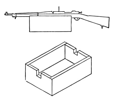 Sighting rest for rifle remove the top and cut notches in the ends to fit the rifle closely, vintage line drawing or engraving illustration.