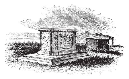 Tomb of Thomas Nelson, gentleman, son of Hugo and Sarah Nelson, of Penrith,vintage line drawing or engraving illustration.
