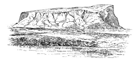 This image shows the remains of the ancient city. It looks like a hill. There is a water level on the hill, vintage line drawing or engraving illustration.