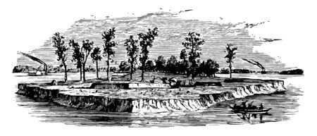 Island Number Ten was island on the Mississippi river vintage line drawing.