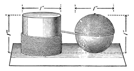 Illustration used to compare the surfaces of a cylinder and a sphere, vintage line drawing or engraving illustration.